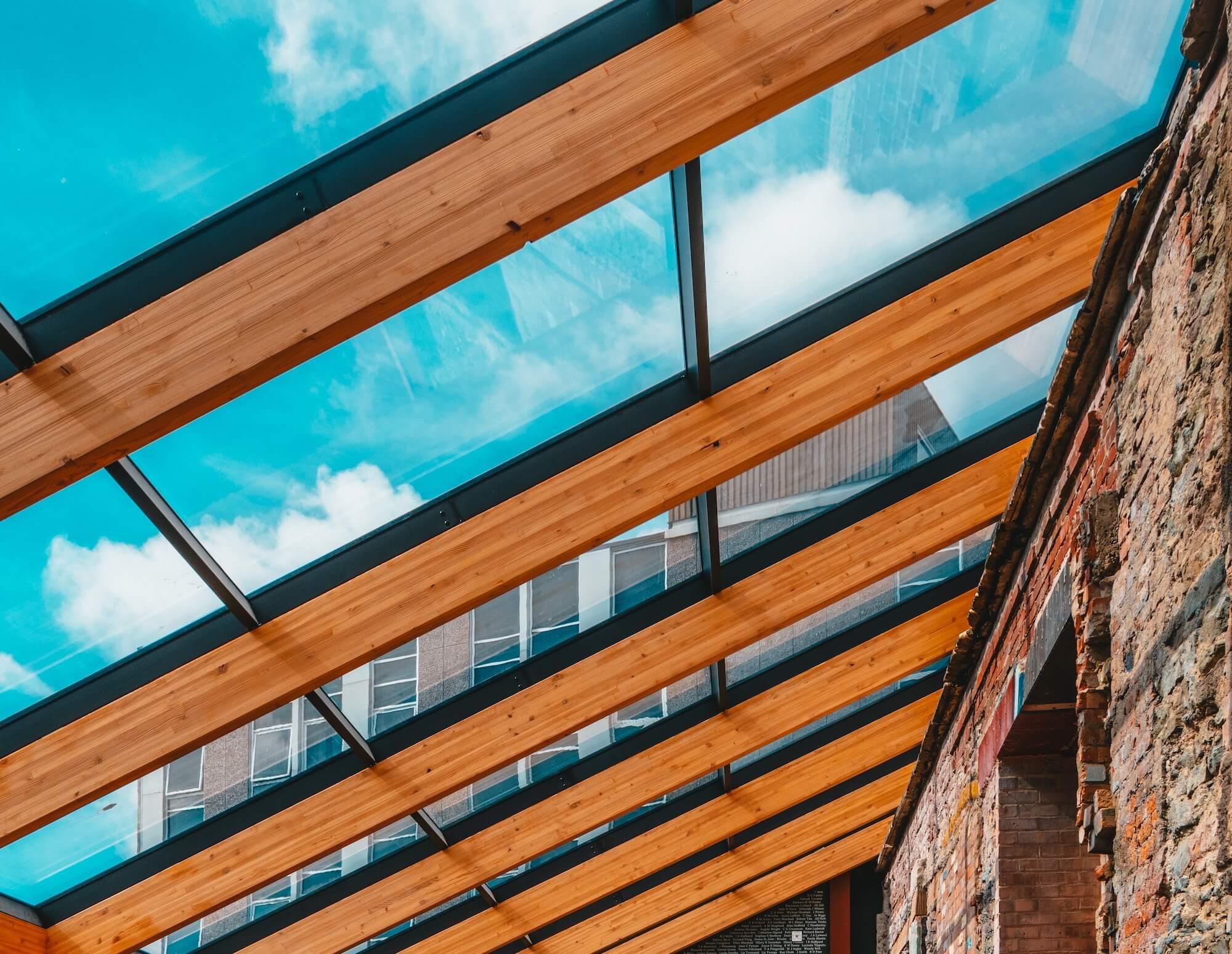 Aluminium glass frame on timber